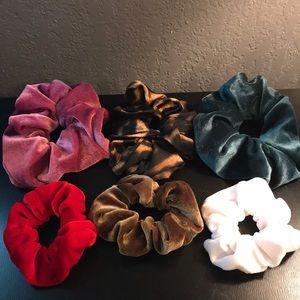 6 New Velvet Scrunchies